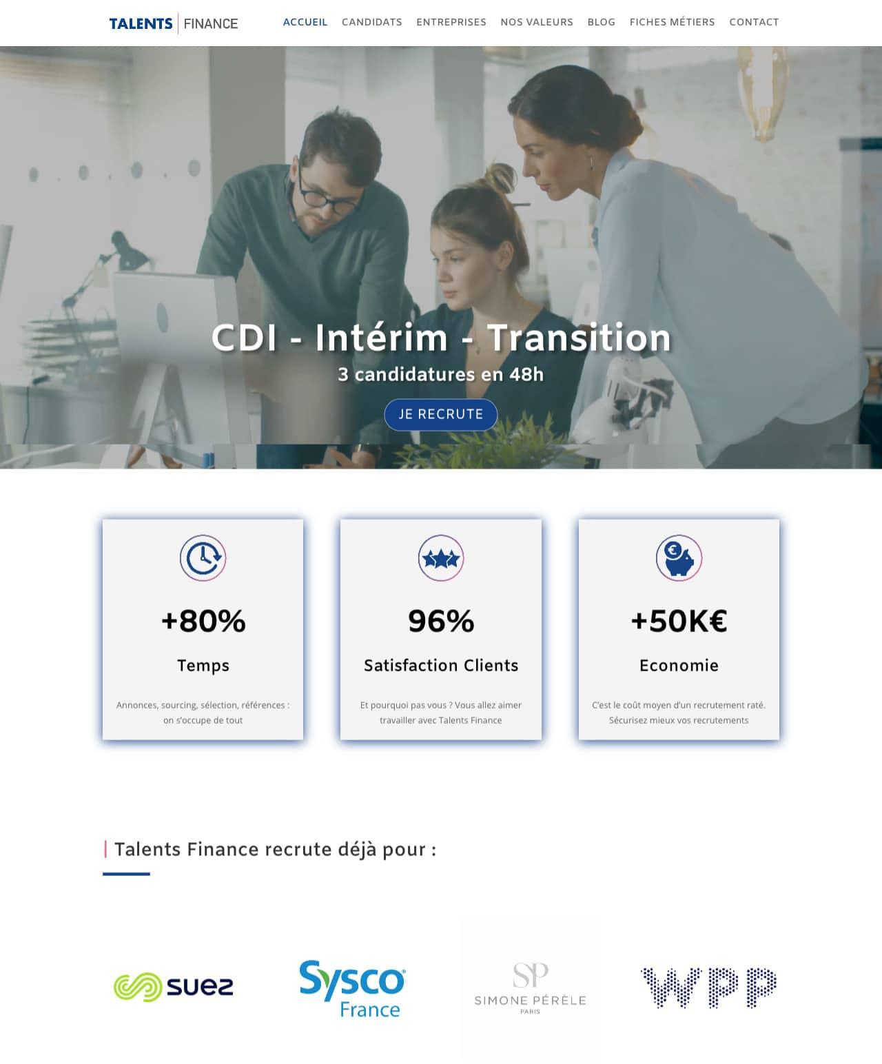 Création d'un site internet vitrine WordPress pour Talents Finance