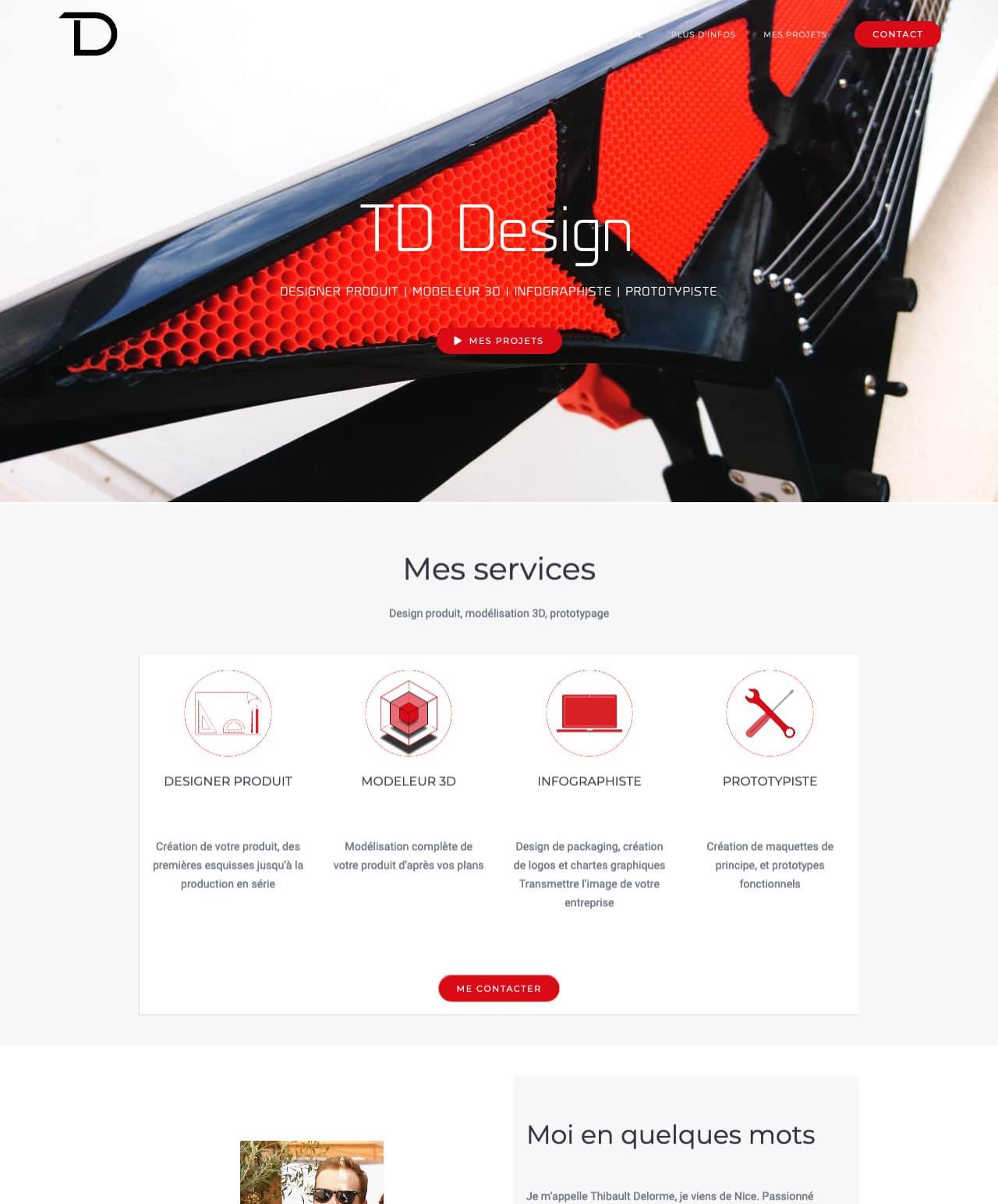 Création d'un site internet vitrine WordPress pour le TD Design