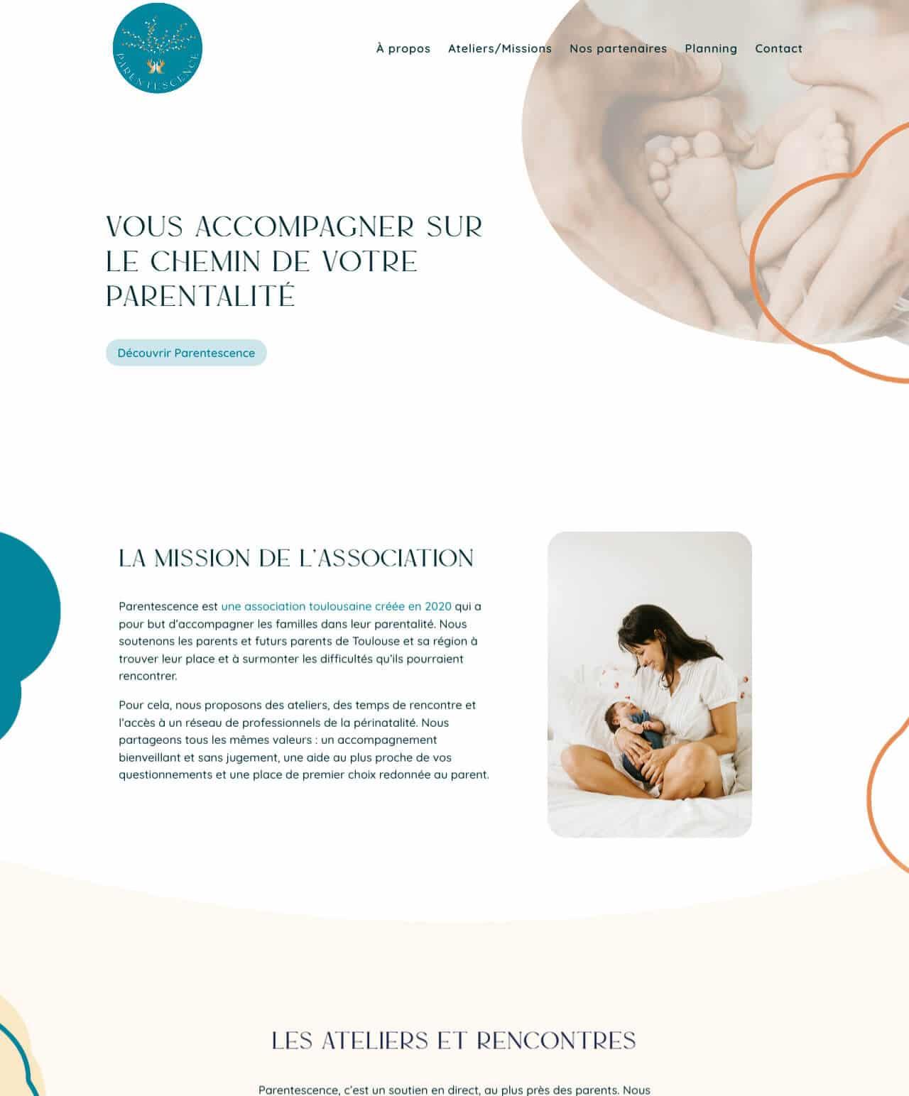 Création d'un site internet vitrine WordPress pour Parentescence