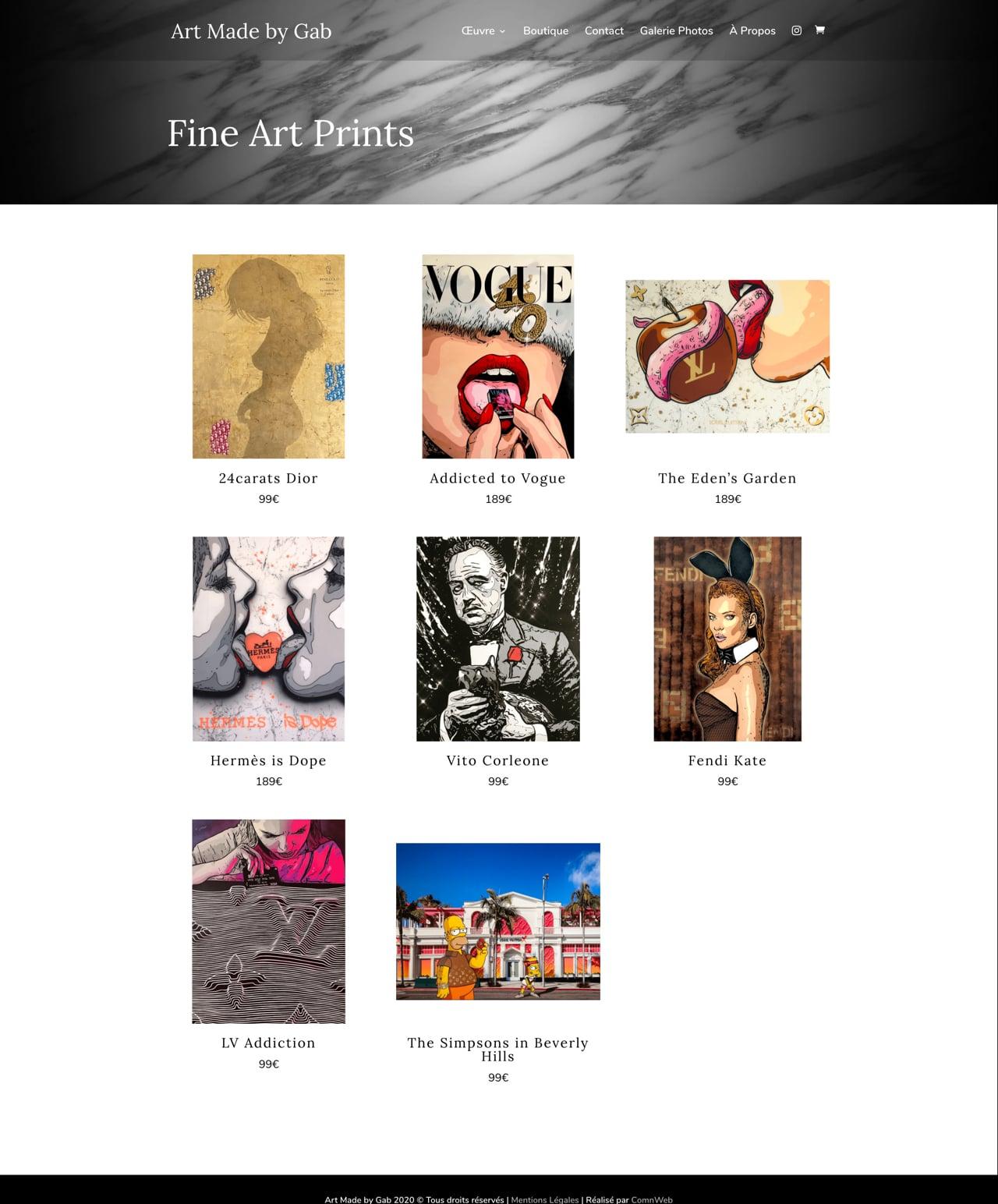 Création d'un site internet e-commerce WordPress pour Art Made by Gab