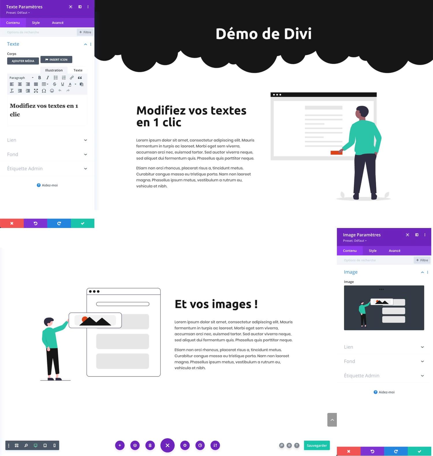 Démo de Divi, création de sites internet WordPress