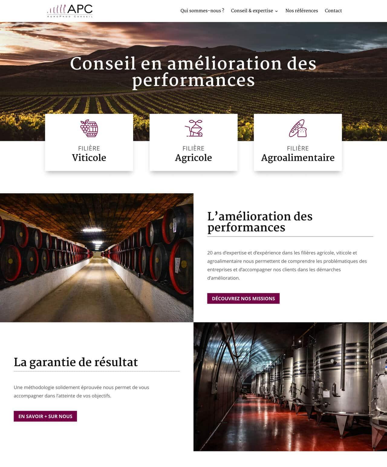 Création d'un site internet vitrine WordPress pour AgroProd Conseil