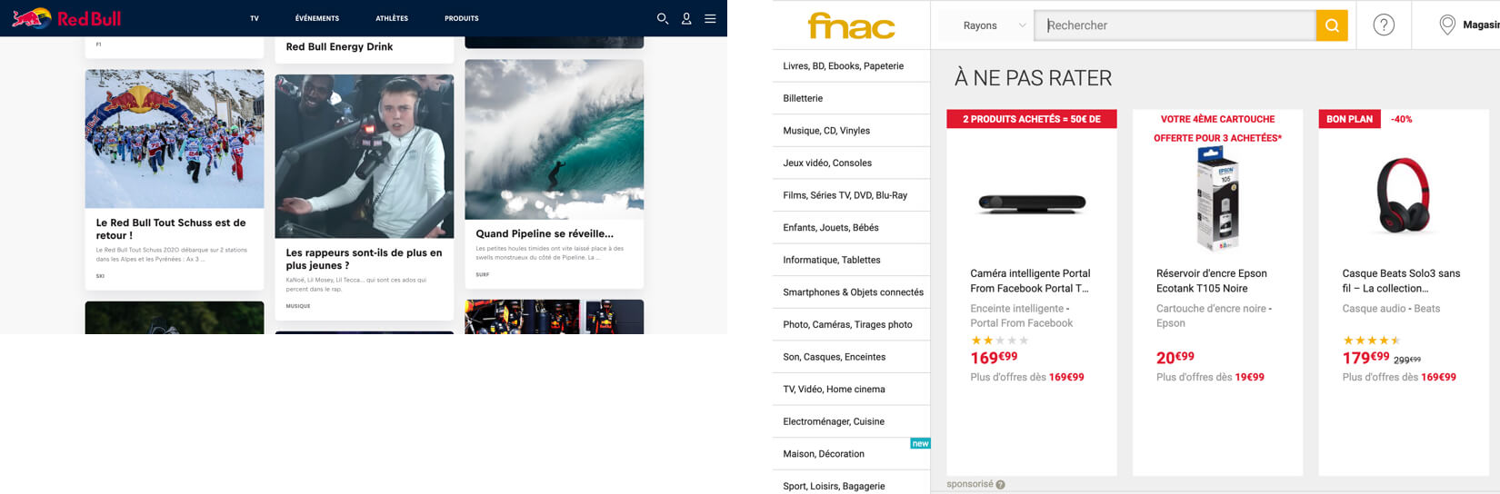 Exemple de la Fnac et RedBull pour la lisibilité d'un site web