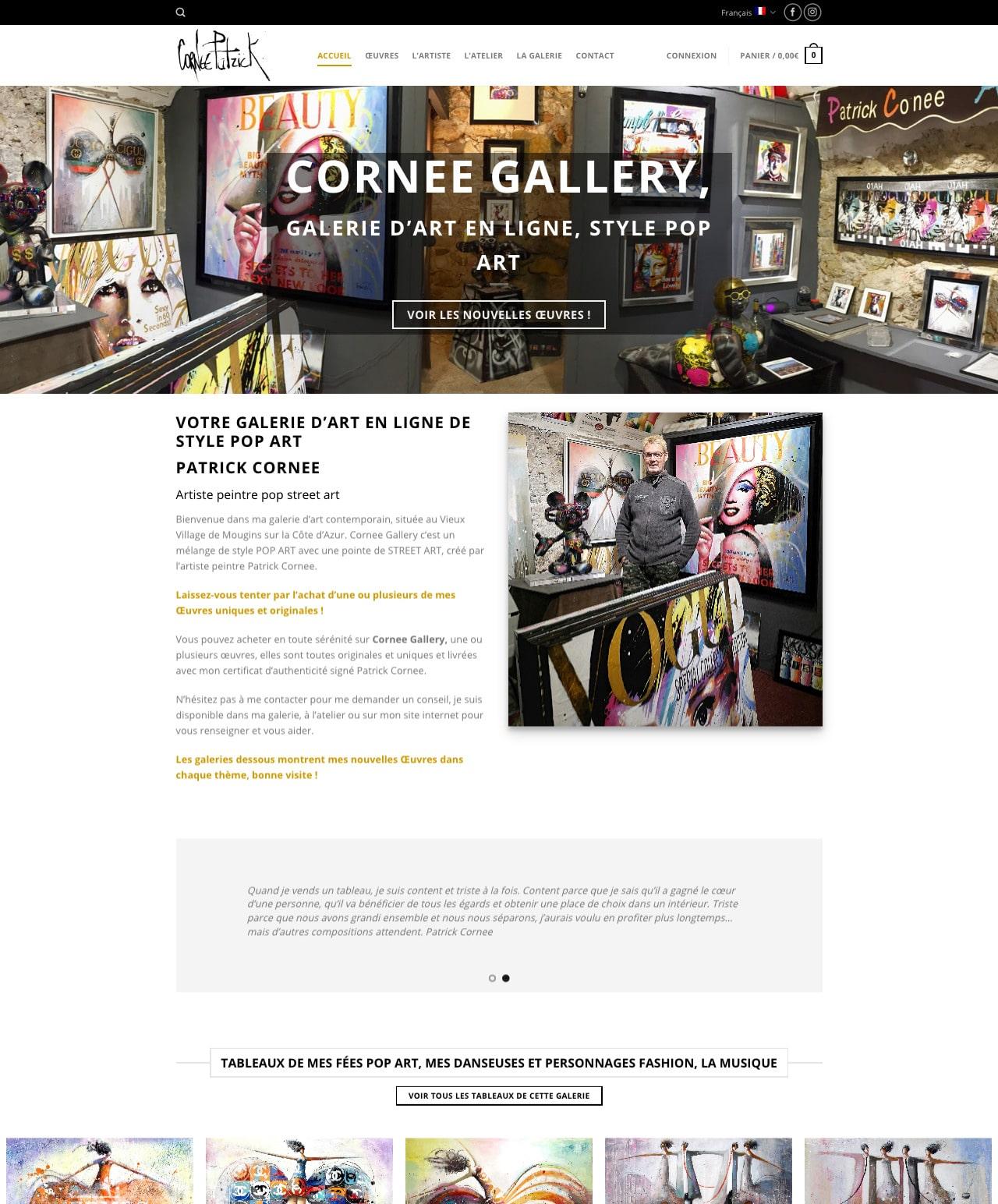 Création d'un site internet ecommerce WordPress pour Cornee Gallery