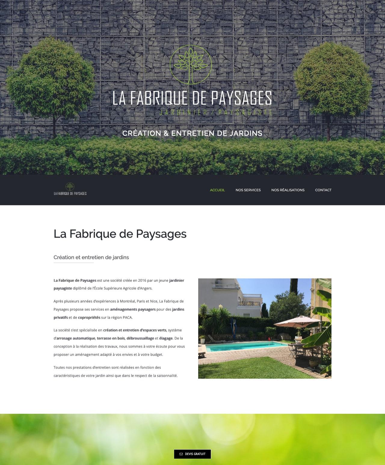 Création d'un site internet vitrine WordPress pour La Fabrique de Paysages