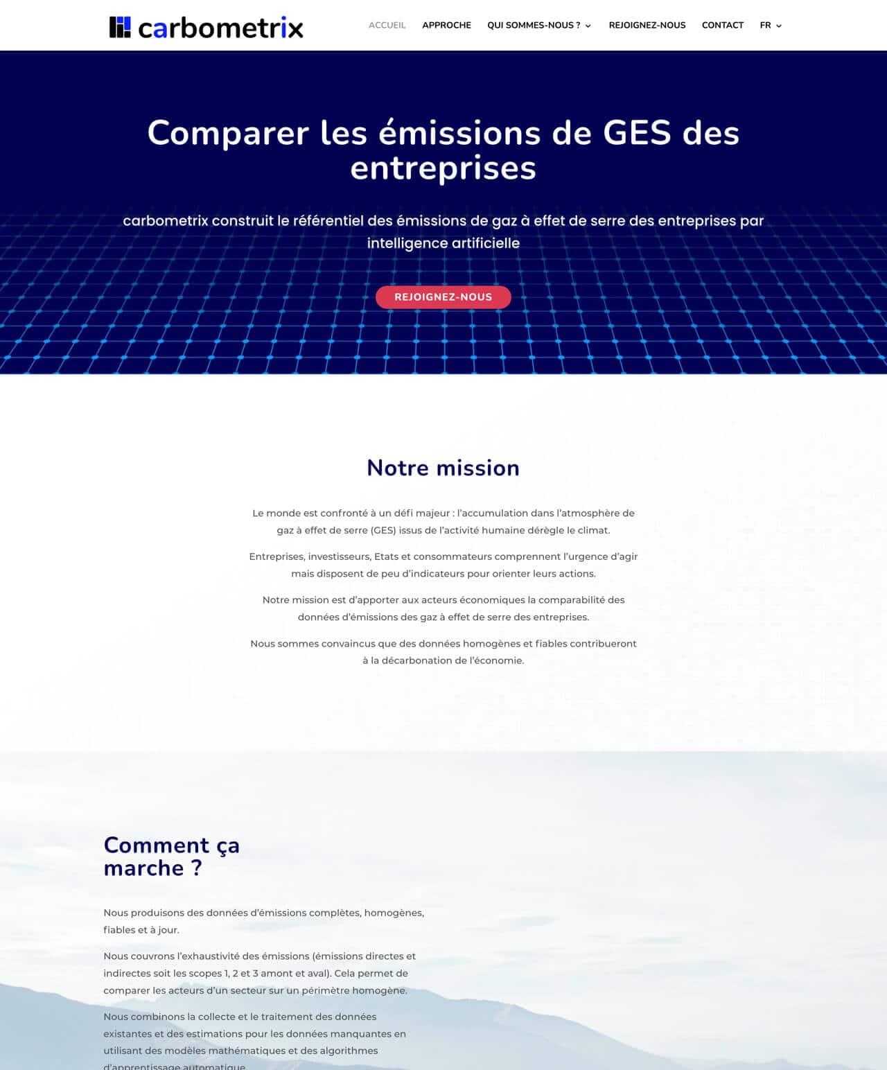 Création d'un site internet vitrine WordPress pour carbometrix