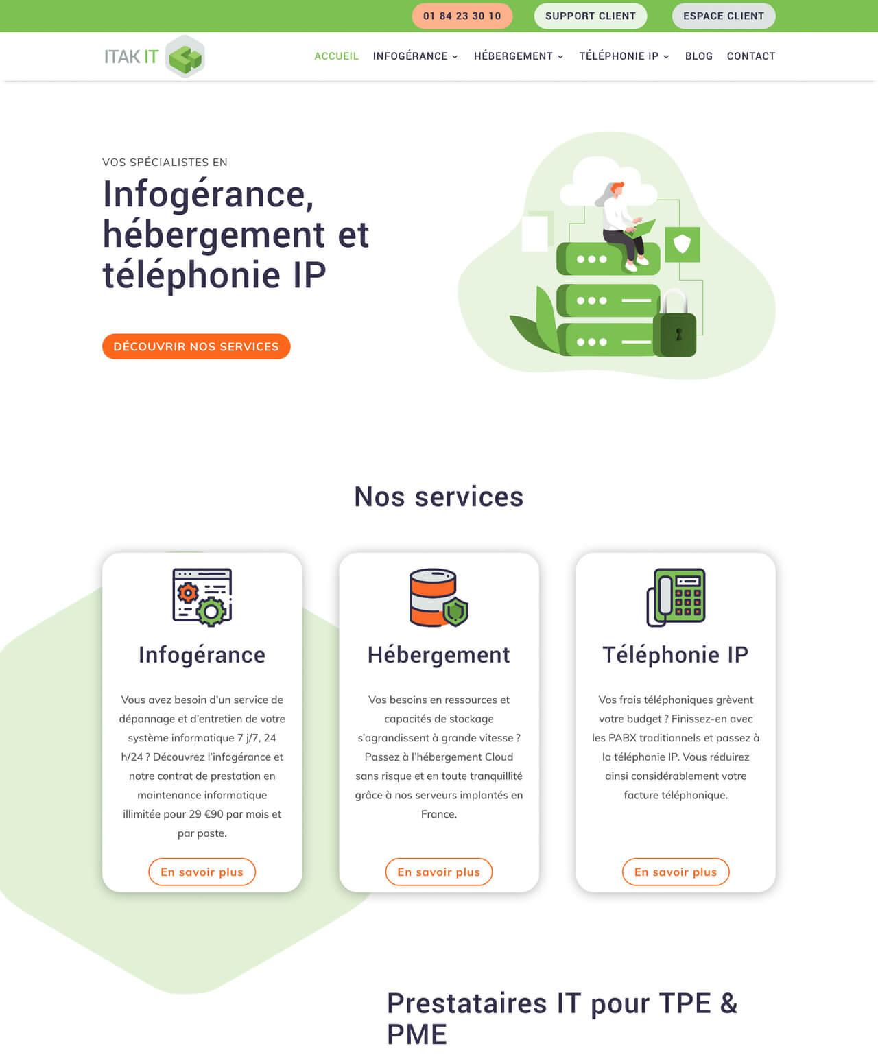 Création d'un site internet vitrine WordPress pour ITAK IT