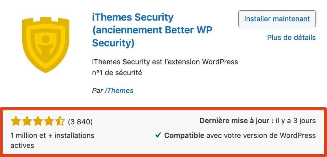 Les informations importantes d'un plugin WordPress