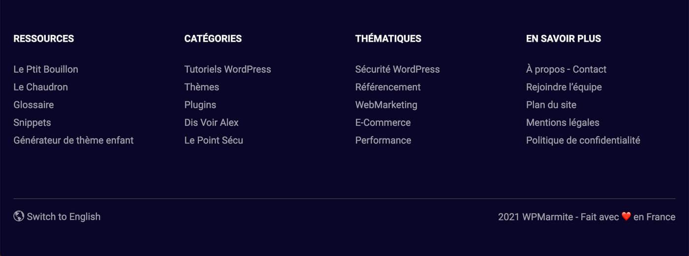 Exemple du footer du site WP Marmite