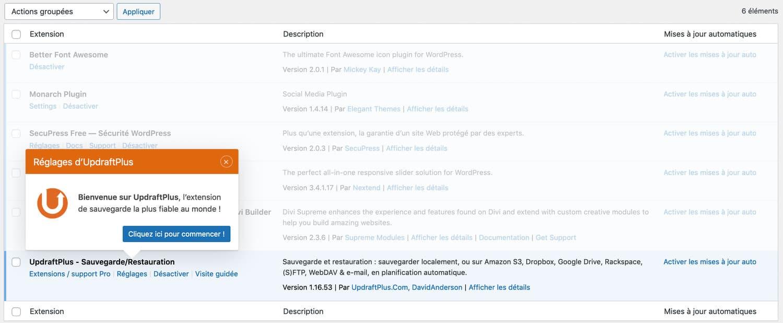 Le plugin WordPress UpDraftPlus pour sauvegarder votre site internet
