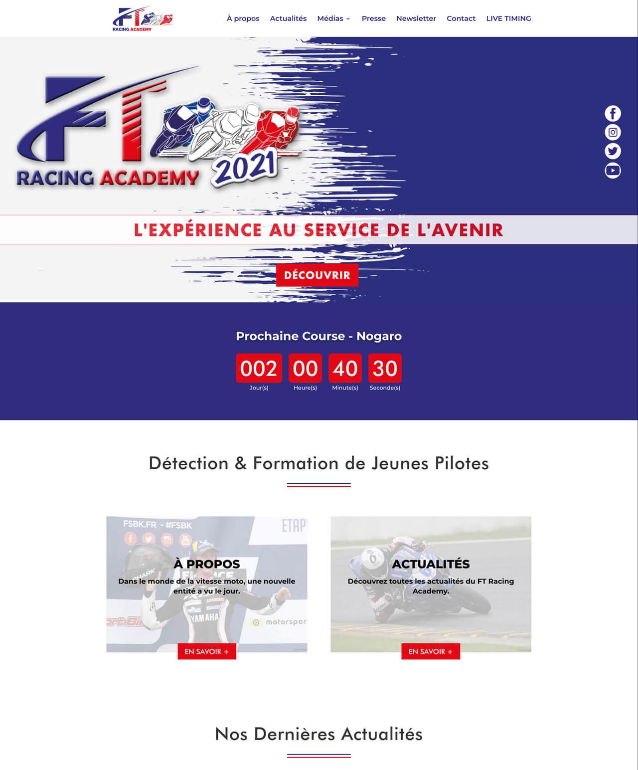 Création d'un site internet vitrine WordPress pour FT Racing Academy