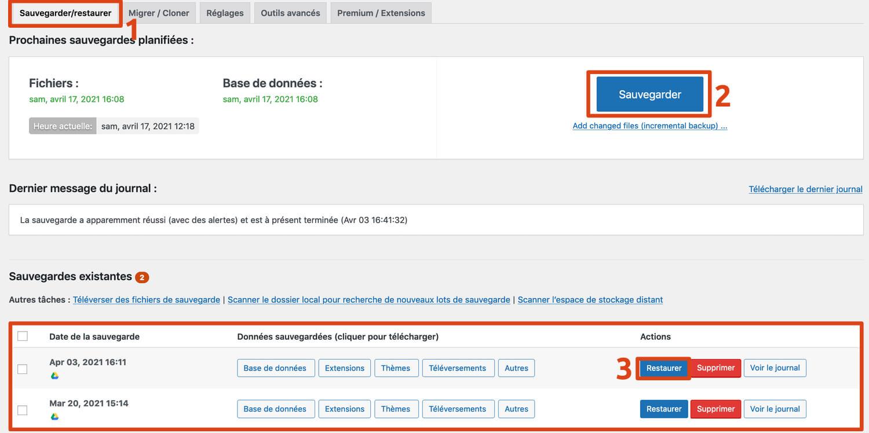Le tableau de bord du plugin WordPress UpDraftPlus