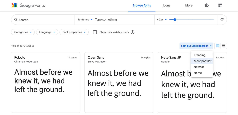 Les typographies sur Google Fonts